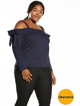 v-by-very-curve-bow-sleeve-cold-shoulder-top-navy