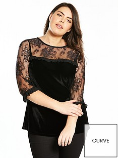 v-by-very-curve-velvet-amp-lace-frill-top-black