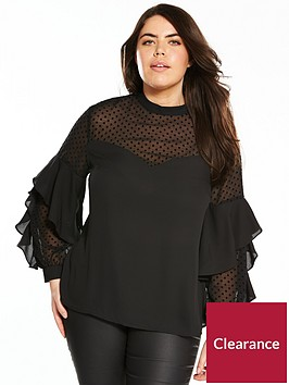 v-by-very-curve-spot-mesh-ruffle-blouse-black
