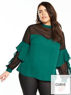 v-by-very-curve-spot-mesh-ruffle-blouse-green
