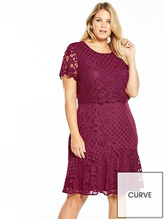 v-by-very-curve-double-layer-lace-dress-raspberry