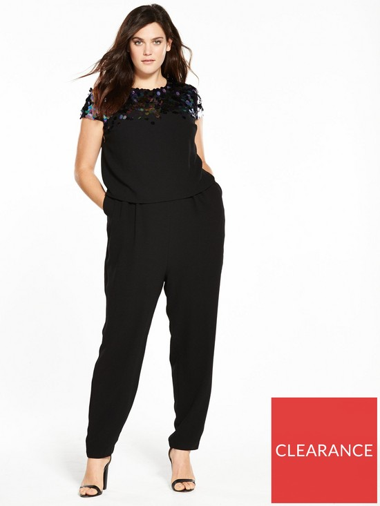 5e47ee0c781 V by Very Curve Sequin Double Layer Jumpsuit - Black