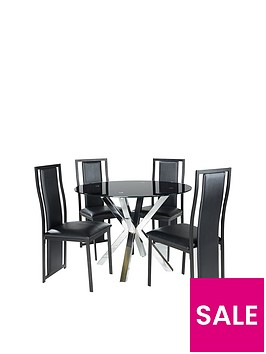 chopstick-100-cm-round-glass-dining-table-4-nevada-chairs