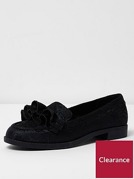 river-island-black-jaquard-ruffle-loafer