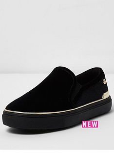 river-island-river-island-black-gold-raisin-slip-on-plimsole