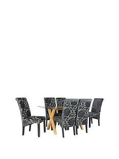Venla 150 Cm Solid Wood And Glass Dining Table 6 Oxford Chairs