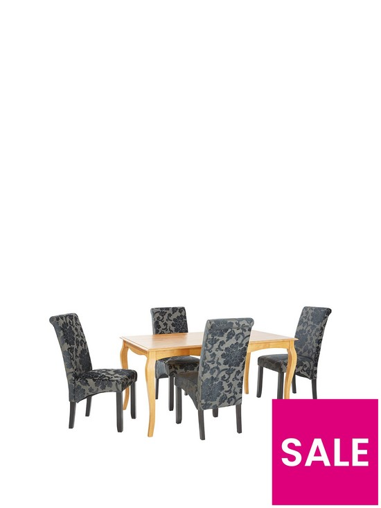 Alisha 150 Cm Solid Wood Dining Table 4 Oxford Chairs
