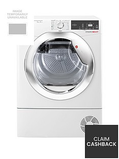 Hoover Dynamic NextDXH9A2TCE 9kgLoad, Aquavision, HeatPump Tumble Dryer with One Touch - White/Chrome