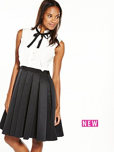 ted-baker-pleated-tie-neck-dress--nbspblackwhite