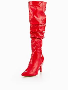 miss-selfridge-red-patent-ruched-over-the-knee-boot