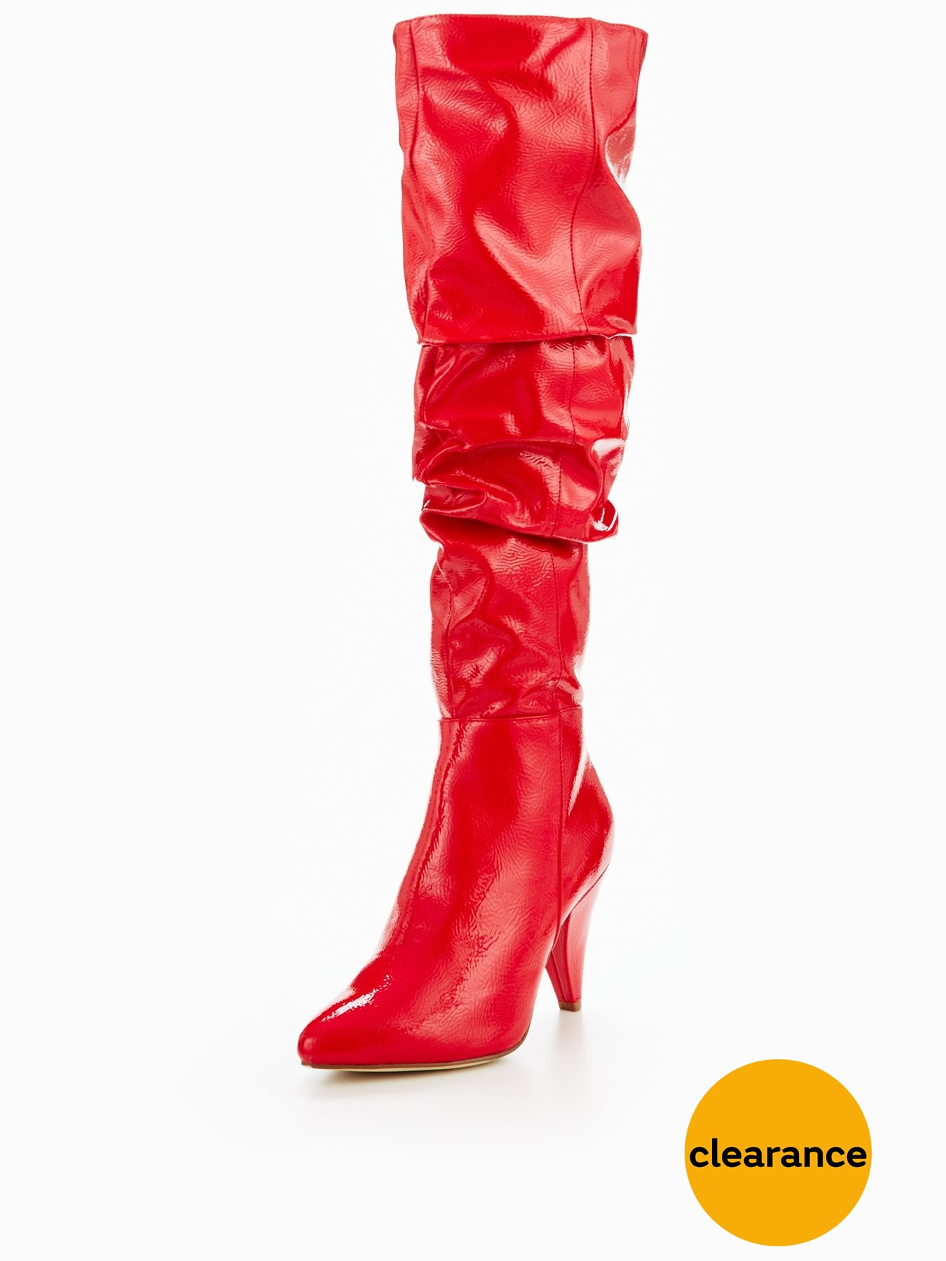 Miss Selfridge Red Patent Ruched Over The Knee Boot 1600193416 Women's Shoes Miss Selfridge Boots