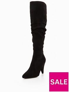 miss-selfridge-cone-heel-ruched-knee-high-boot