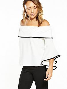 v-by-very-bardot-contrast-tipping-jersey-crepe-top