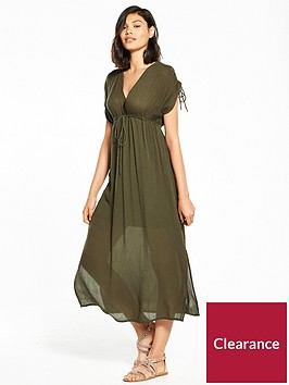 river-island-rouched-sleeve-midi-dress