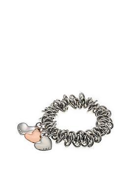 fiorelli-jewellery-costume-triple-heart-charm-scrunchie-bracelet-with-rose-gold-detail