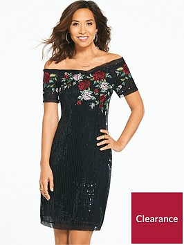 myleene-klass-sequin-embroiderednbsprose-dress-black
