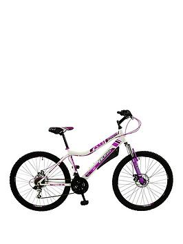 Image of Boss Cycles Pulse Front Suspension Ladies Mountain Bike 16 inch Frame, White/Pink, Women