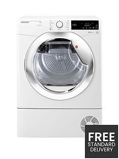 Hoover One Touch DXC9TCE 9kg Load, Condenser Tumble Dryer - White/Chrome