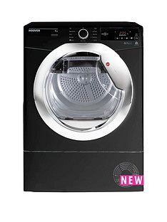Hoover One Touch DXC9TCEB 9kgLoad, Condenser Tumble Dryer - Black/Chrome