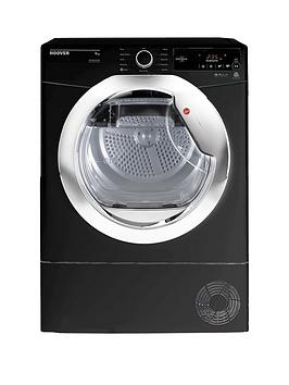 Hoover Dynamic Next Dxc9Tceb 9Kg Load, Aquavision Condenser Tumble Dryer With One Touch - Black/Chrome