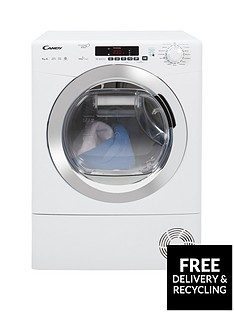 Candy Grand'O Vita GVSH9A2DCE 9kg Load, Heat Pump, Sensor Tumble Dryer with Smart Touch - White/Chrome