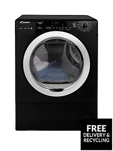 Candy Grand O Vita GVSH9A2DCEB 9kg Load, Heat Pump Tumble Dryer with Smart Touch - Black/Chrome