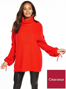 v-by-very-cowl-neck-slouch-rib-plaited-cable-tunic