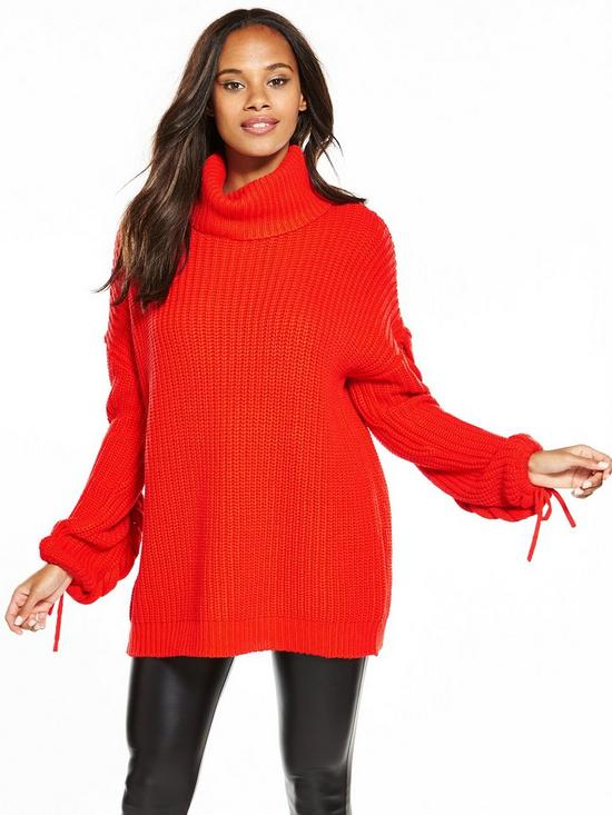 Very Cowl Neck Slouch Rib Plaited Cable Tunic - , Women