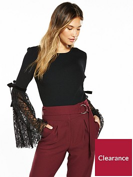 v-by-very-pleat-lace-flared-sleeve-jumper