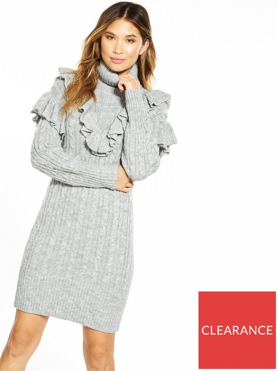 15c1d72c707 V by Very Chunky Cable Frill Roll Neck Knit Dress