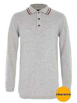 river-island-boys-grey-tipped-collar-knit-polo-shirt