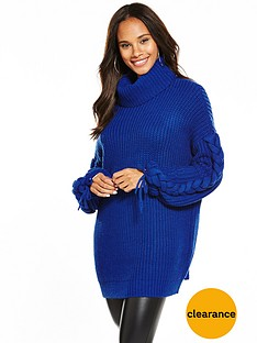 v-by-very-cowl-neck-slouch-rib-plaited-cable-tunic-blue
