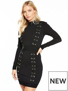 v-by-very-oversized-eyelet-bodycon-knit-dress