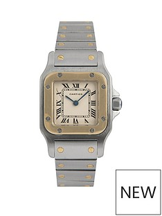 cartier-cartier-pre-owned-ladies-bimetal-santos-quartz-watch-off-white-dial-ref-166930