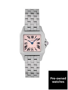 cartier-cartier-pre-owned-ladies-steel-santos-demoiselle-watch-mother-of-pearl-dial-ref-2698
