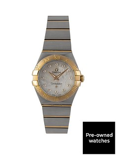 omega-omega-pre-owned-ladies-steel-amp-rose-gold-constellation-watch-mop-diamond-dial-ref-1232024
