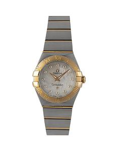 omega-pre-owned-ladies-steel-andnbsprose-gold-constellation-watch-mop-diamond-dial-ref-1232024