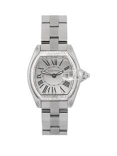 cartier-cartier-pre-owned-stainless-steel-ladies-roadster-watch-silver-dial-aftermarket-diamond-bezel-ref-2675