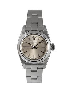 rolex-rolex-pre-owned-ladies-stainless-steel-oyster-perpetual-watch-silver-baton-dial-ref-67180