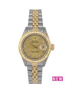 rolex-rolex-pre-owned-ladies-bimetal-datejust-watch-original-champagne-diamond-dial-aftermarket-diamond-bezel-reference-69173