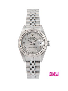 rolex-rolex-pre-owned-ladies-steel-datejust-watch-silver-roman-numeral-dial-reference-79174