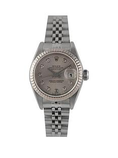 rolex-rolex-pre-owned-ladies-steel-datejust-watch-silver-diamond-dial-reference-69174