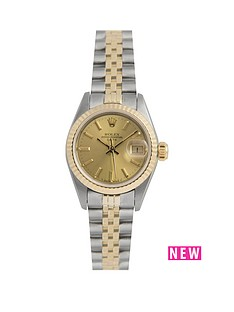 rolex-rolex-pre-owned-ladies-bimetal-datejust-watch-champagne-baton-dial-reference-69173