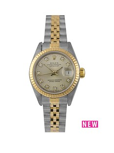 rolex-rolex-pre-owned-ladies-bimetal-datejust-watch-original-silver-diamond-dial-reference-69173