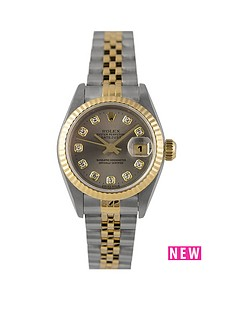 rolex-rolex-pre-owned-ladies-bimetal-datejust-watch-original-grey-diamond-dial-reference-69173