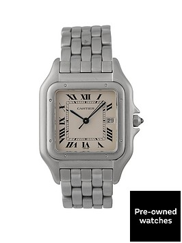 cartier-cartier-pre-owned-gents-jumbo-stainless-steel-panthere-watch-off-white-dial-ref-130-000-c