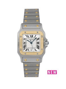 cartier-cartier-pre-owned-gents-bimetal-santos-quartz-watch-off-white-dial-ref-1566