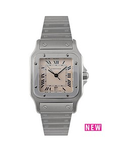 cartier-cartier-pre-owned-gents-steel-santos-quartz-watch-off-white-dial-ref-1564