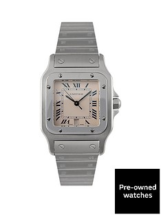 cartier-pre-owned-gents-steel-santos-quartz-watch-off-white-dial-ref-1564