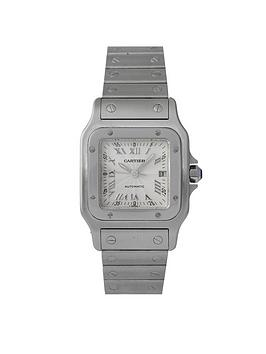 cartier-cartier-pre-owned-stainless-steel-gents-santos-automatic-watch-silver-guilloche-dial-reference-2319